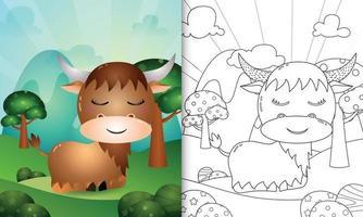 livro de colorir para crianças com uma ilustração de um búfalo fofo vetor