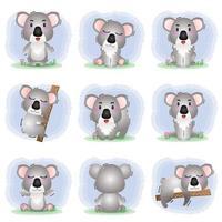 coleção de coala fofa em estilo infantil vetor