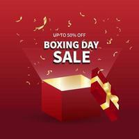 design de modelo de banner de venda. venda de boxing day com caixa vermelha, oferta especial de marketing de mídia social e web melhor preço em vetor