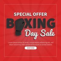 design de modelo de banner de venda. venda de boxing day, oferta especial de marketing de mídia social e web melhor preço em vetor