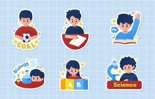 conjunto de adesivos de atividades de alunos vetor