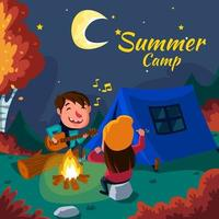casal em acampamento de verão com fogueira à noite vetor