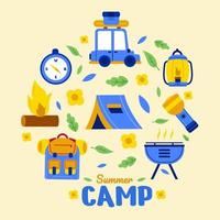conjunto de ícones de acampamento de verão para caminhadas vetor