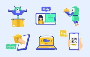 conjunto de ícones de tecnologia sem contato vetor