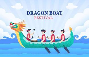 show de barco dragão chinês festival vetor