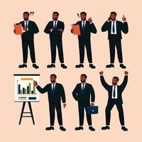 conjunto de caráter do homem de negócios em várias atividades vetor