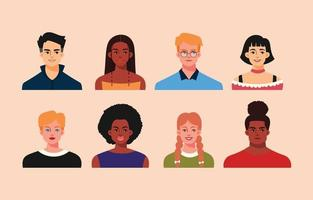 coleção de avatar de várias etnias de pessoas vetor