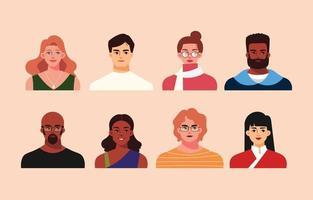 coleção de avatar de pessoas multiculturais em estilo simples vetor