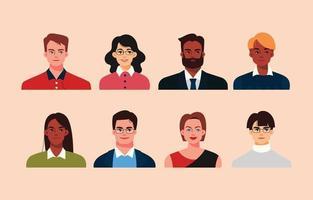 coleção de avatares de empresários multiculturais vetor