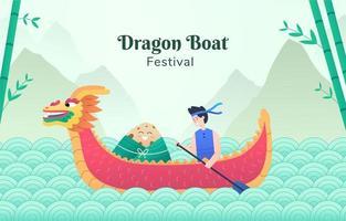 festival chinês do barco dragão vetor