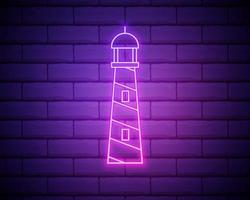 ícone de farol de néon brilhante isolado no fundo da parede de tijolo. ilustração vetorial vetor