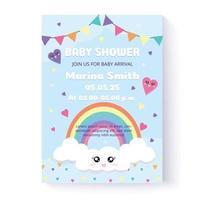 modelo de convite do chuveiro de bebê e cartão de felicitações. ilustração vetorial. desenhado à mão. design plano. vetor
