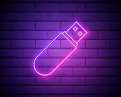 ícone de brilho de néon de driver de flash USB. linha fina simples, vetor de contorno de ícones de tecnologia para interface do usuário e ux, site ou aplicativo móvel isolado na parede de tijolos.