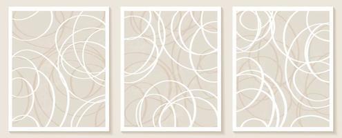 modelos contemporâneos com formas abstratas orgânicas e linhas em cores nude. fundo boho pastel em ilustração vetorial de estilo minimalista de meados do século vetor