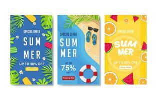 conjunto de banner de verão colorido vetor