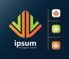 melhor design de logotipo moderno para o vencedor de negócios vetor