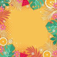 olá verão com fundo amarelo vetor