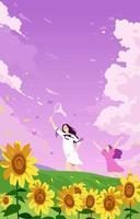 garota pegando borboletas no verão vetor