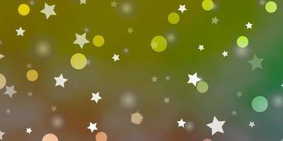 textura de vetor verde e vermelho claro com círculos, estrelas.
