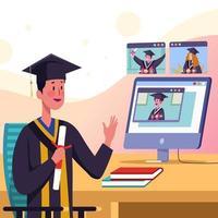 graduação virtual online vetor