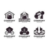 conjunto de logotipo ginásio em casa vetor