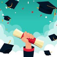 mão segurando um certificado de graduação vetor
