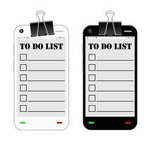 smartphone com lista de tarefas em uma tela vetor