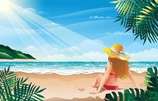 garota de biquíni relaxando na praia de verão vetor