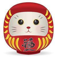 boneca daruma do japão com vetor de cara de gato