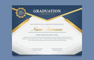 modelo de prêmios de certificado de graduação em azul e dourado vetor