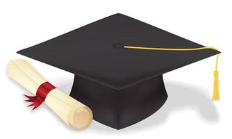 chapéu de formatura de estudante com diploma vector eps10