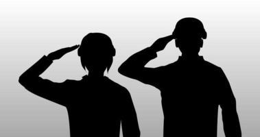 silhueta negra saudação homem e mulher soldado vetor