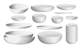tigela de cerâmica branca e pratos vetor