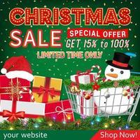 banner de venda de natal com caixa de presente e carrinho vetor