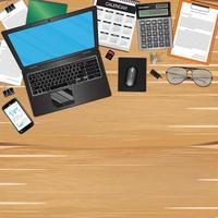 local de trabalho com objeto e ferramentas na mesa de madeira vetor