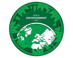 dia mundial do meio ambiente com folha vetor
