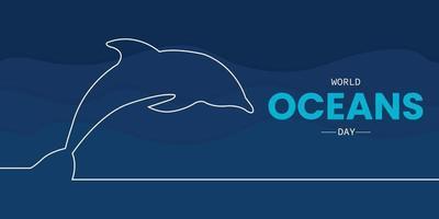 dia mundial dos oceanos com linha dos golfinhos vetor