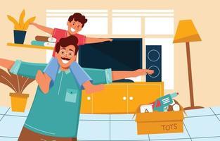 conceito de pai e filho feliz vetor