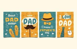 conjunto de cartões de felicitações para o dia dos pais desenhado à mão vetor