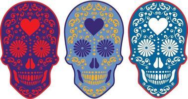 caveira mexicana de açúcar, camisetas com design vintage vetor
