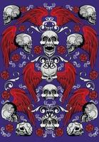 letreiro gótico com caveira e asas, camisetas com design vintage grunge vetor