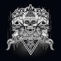 placa gótica com caveira e olho da providência, design vintage grunge vetor
