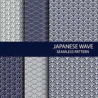 conjunto de padrão tradicional japonês sem costura na cor índigo vetor