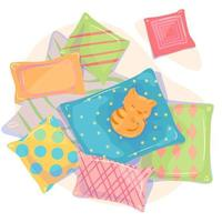 travesseiros e faixa plana de vista superior de gato em fundo branco. ilustração de cartão de gato vermelho dormindo aconchegante. modelo de cartaz de móveis de tecido têxtil. elemento de design de decoração para casa. vetor dos desenhos animados isolado