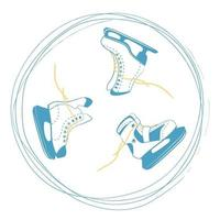 conjunto de patins de gelo com laços brilhantes em um círculo de rotina. símbolo da pista de gelo. logotipo do equipamento de esporte em linhas riscadas. ilustração vetorial isolada no fundo branco vetor