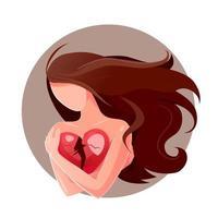 menina sozinha dos desenhos animados segura o coração partido no fundo branco, separando o amor pelo design de conceito. cartão de vetor de símbolo de divórcio. ilustração plana isolada deprimida. sentindo baixa auto-estima, auto-aversão
