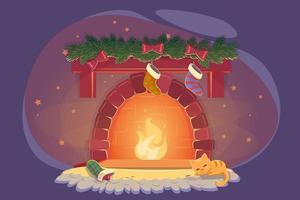 cartão com lareira de Natal e gato dormindo para design de decoração de celebração. gatinho brincalhão perto do fogo de Natal com meias. quarto de inverno aconchegante de ano novo, ilustração em vetor plana véspera noel à noite.