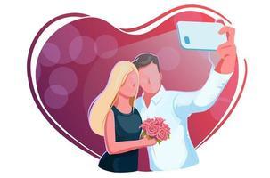 lindo casal jovem tomando selfie no encontro. dia dos namorados, cara e garota com rosas fazem relfie sobre um fundo vermelho. amor, noivado, conceito de casamento. amo moldura de coração. projeto de celebração romântica. vetor