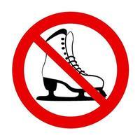 nenhum ícone isolado proibido de patinação no gelo. ícone do símbolo de parada vermelha. sinal de atenção. zona proibida. gelo aviso de perigo inseguro. projeto de segurança de inverno em bacground branco. vetor