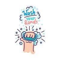 adesivos de proteção contra vírus desenhados à mão vetor